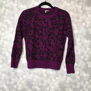 Halogen Purple Merino Wool Leopard Print Sweater